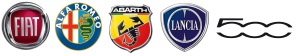 Alfa Romeo Fiat 500 Lancia Abarth Logos zusammen
